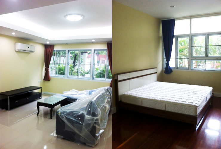 Renovated 2 bed 2 bath ekamai house for rent with garden near BTS
