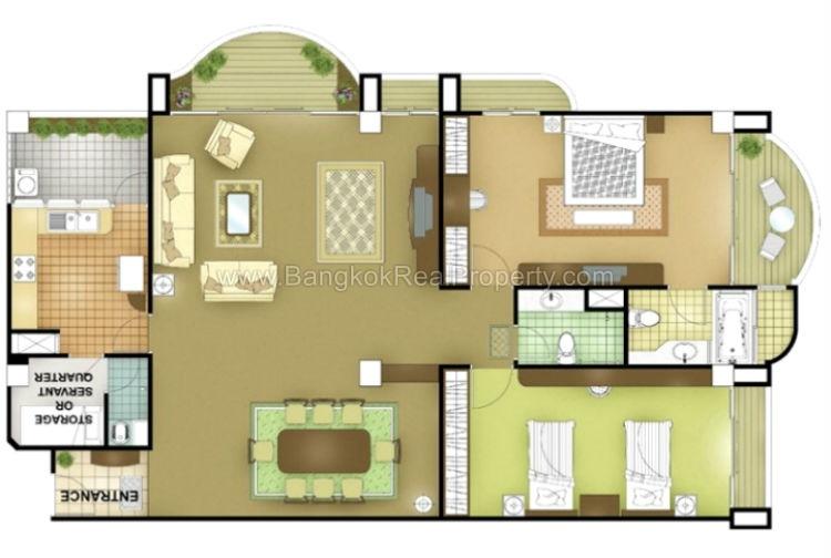 Rent spacious 2 bedroom asoke apartment for rent for 2 bedroom 2 bathroom apartments for rent