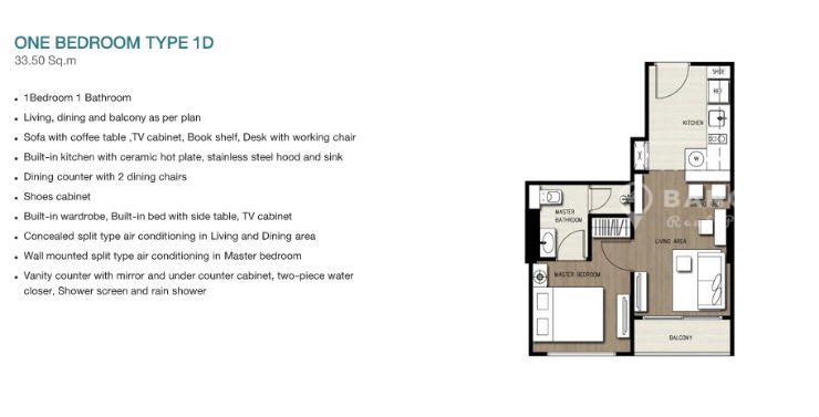 TEAL Sathorn Taksin Modern 1 bed layout